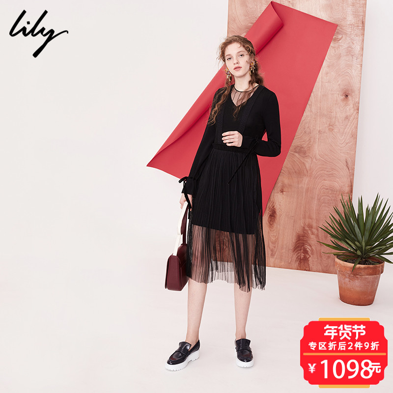 Lily2018春新款女装时尚OL黑色显瘦两件套连衣裙118100B7703