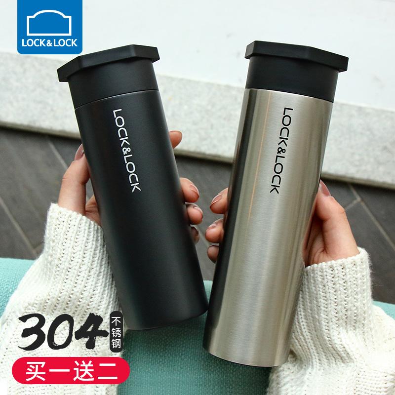 乐扣乐扣保温杯女士直身杯便携水杯不锈钢保温杯男士创意茶杯杯子