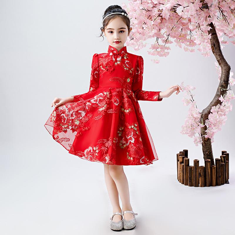 儿童连衣裙秋冬洋气加绒公主裙复古礼服女童旗袍中国风汉服冬裙