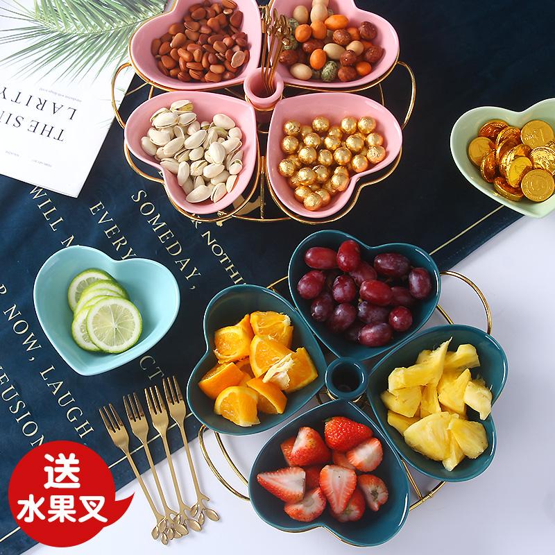 水果盘零食盘子创意客厅家用网红小吃盘精致拼盘糖干果盘北欧风格