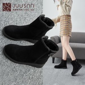 Jusheng winter cotton boots warm high-top snow boots 2019 European and American fashion tide women's shoes sleeve bread shoes cotton shoes