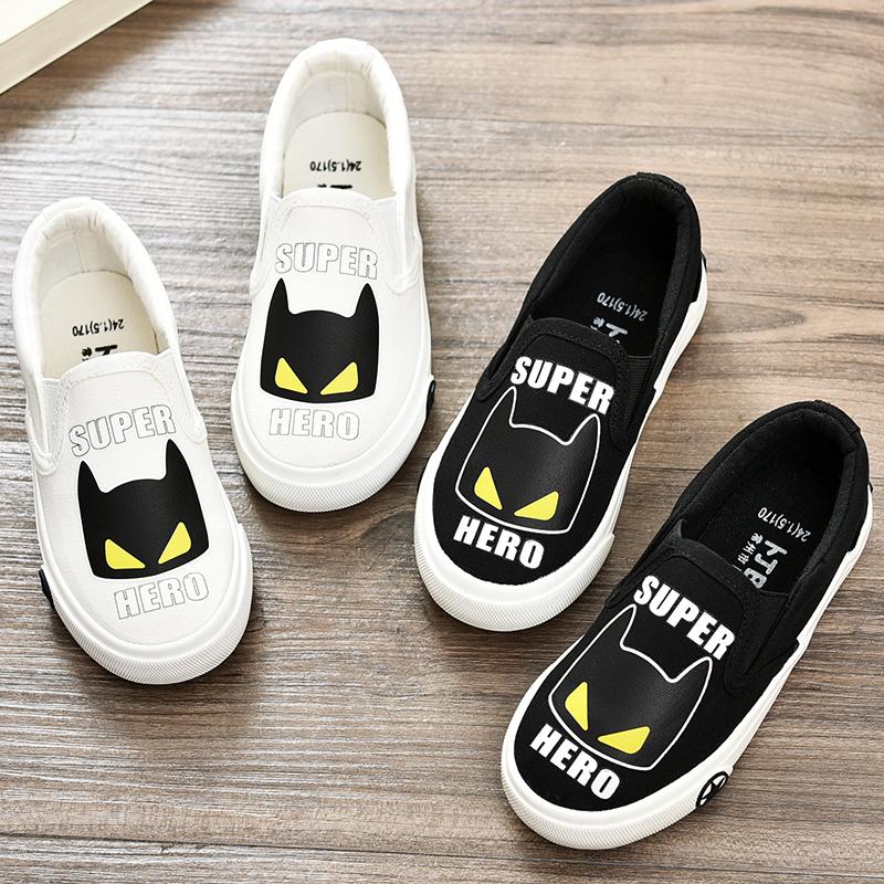 儿童帆布鞋夏季新款男童一脚蹬懒人鞋卡通小怪兽童鞋小学生休闲鞋