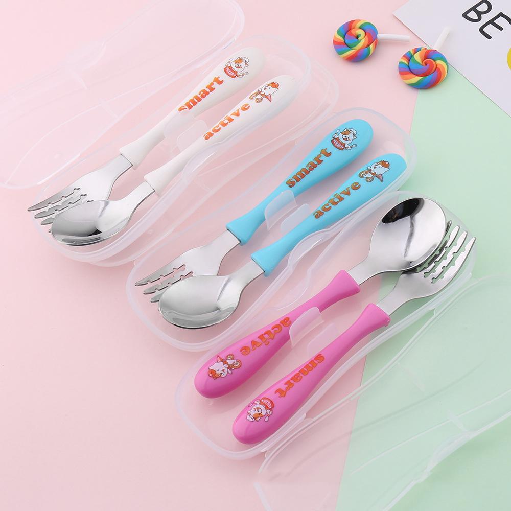 儿童304不锈钢勺子叉子套装小孩吃饭勺宝宝卡通勺子便携收纳盒