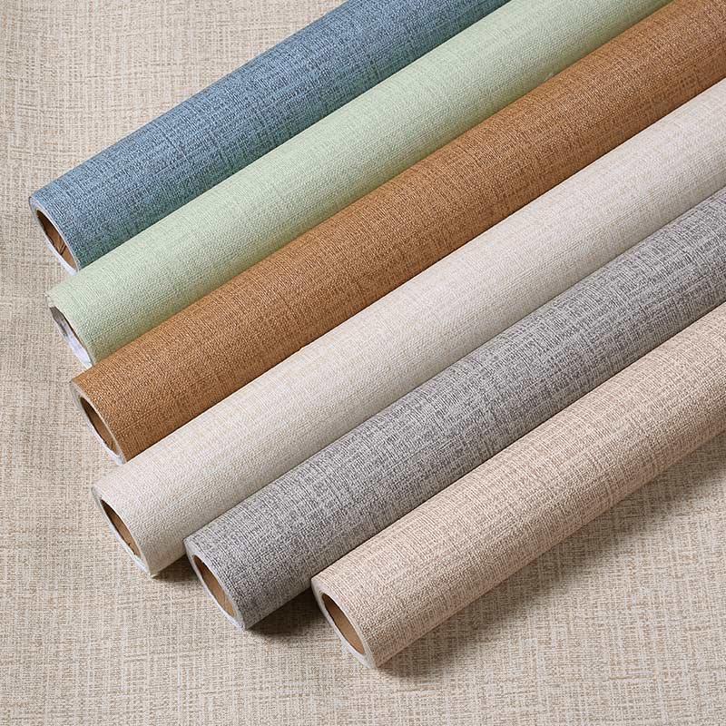 素色墙纸 简约温馨麻布纹立体蚕丝客厅卧室壁纸 酒店工程墙纸自粘