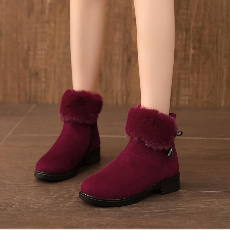 妈妈裸靴女加绒冬季简约粗跟方跟鞋短筒靴子女短靴中老年保暖靴