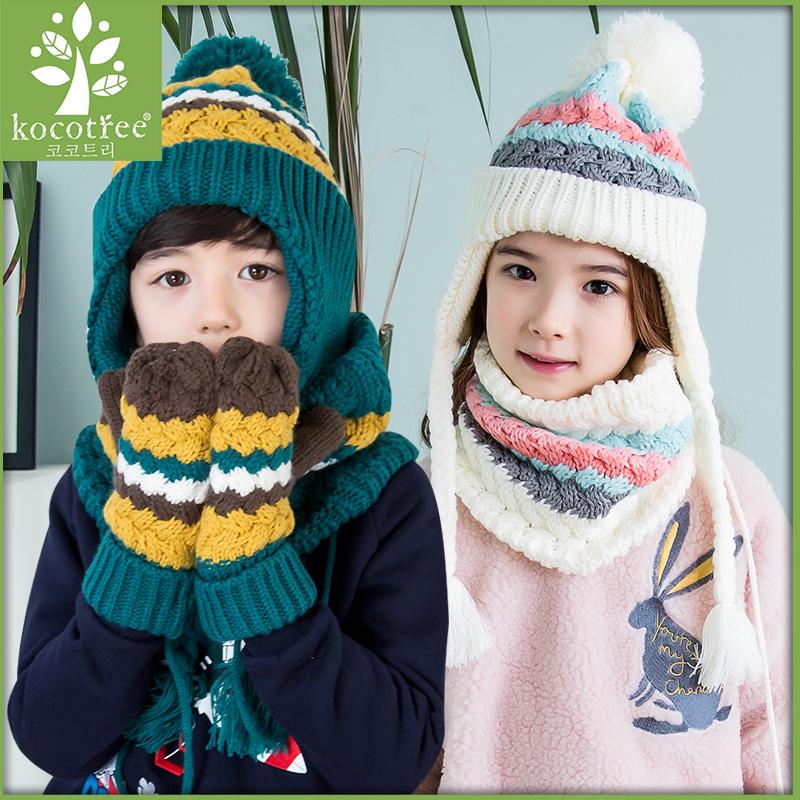 kk树新款秋冬宝宝帽子围脖套装冬儿童帽子围巾两件套一体保暖