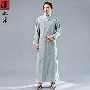 中国风民国长款长衫苎麻男装中式立领盘扣斜襟民族服装大褂汉服图片