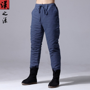 Winter Chinese style thick cotton pants Chinese men's retro loose trousers Slim feet pants linen casual men's pants