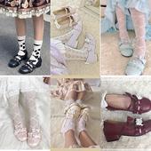 爱心低跟日系少女小皮鞋 甜涩鹿角 小心心原创Lolita可爱圆头鞋