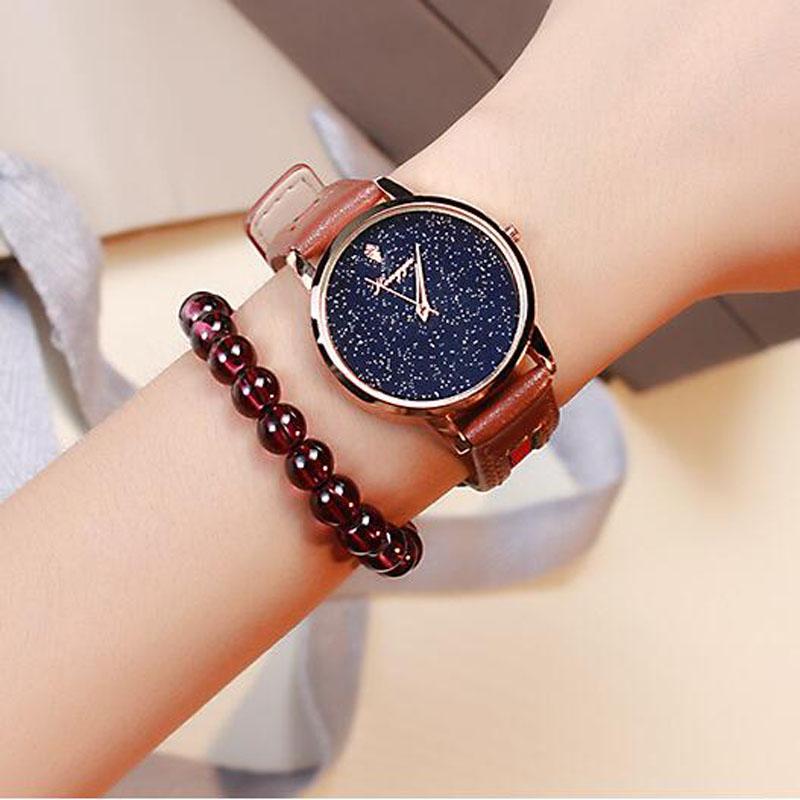 复古森系棕色皮带手表无刻度星空潮流女表简约超薄腕表学生石英表