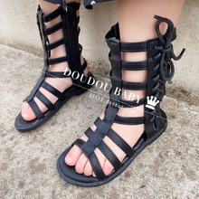 女童凉鞋 2020新款la8尚(小)女孩vt夏季中(小)童高邦露趾罗马凉靴