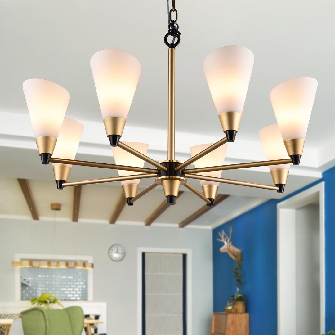 美式乡村客厅LED吊灯 卧室餐厅个性创意简约轻奢铝材艺术顶灯饰-欧柏图旗舰店