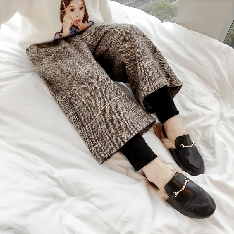 女童打底裤加绒加厚2018秋冬季假两件裤子儿童冬装洋气外穿阔腿裤