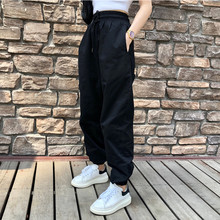 2021春款新韩qk5加长工装jxbf运动休闲裤高腰显瘦束脚哈伦裤