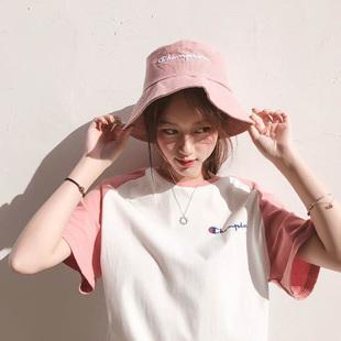 明星同款2019新款拼色短袖t恤女纯棉情侣款夏装圆领运动打底衫