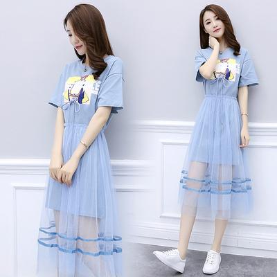 裙子夏2019新款可爱套装裙A字裙子韩版时尚高腰条纹连衣裙两件套