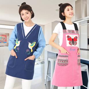 卡通长袖围裙亚麻韩版时尚防水防