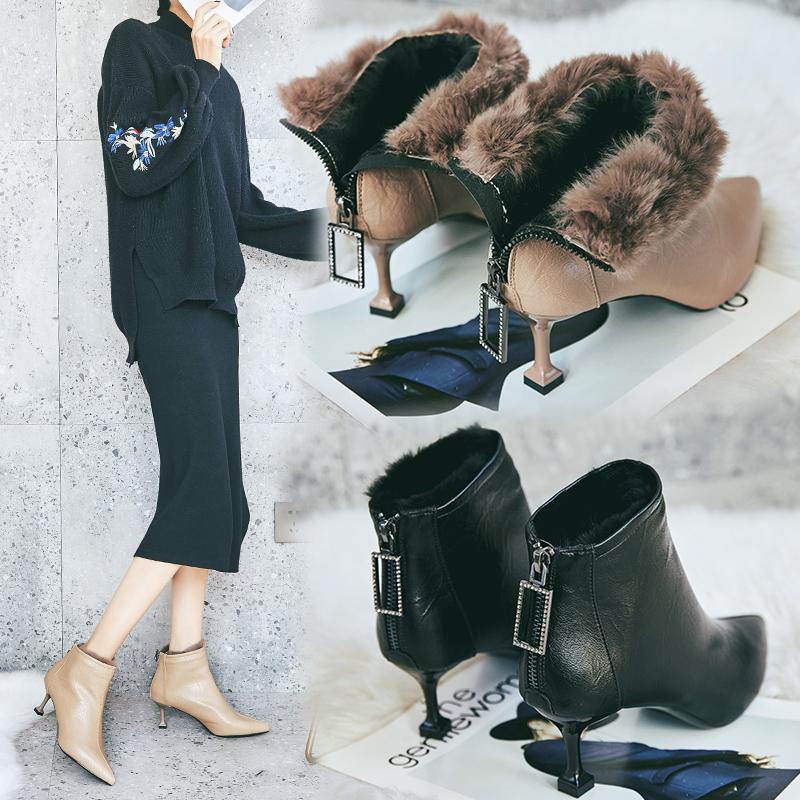 细跟短靴女高跟鞋秋冬加绒6cm中跟裸靴2018新款瘦瘦靴百搭小跟靴