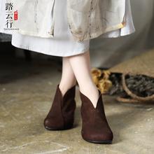 2021春秋新款民族风复古平底ju12跟女鞋ok底牛皮短靴单靴子