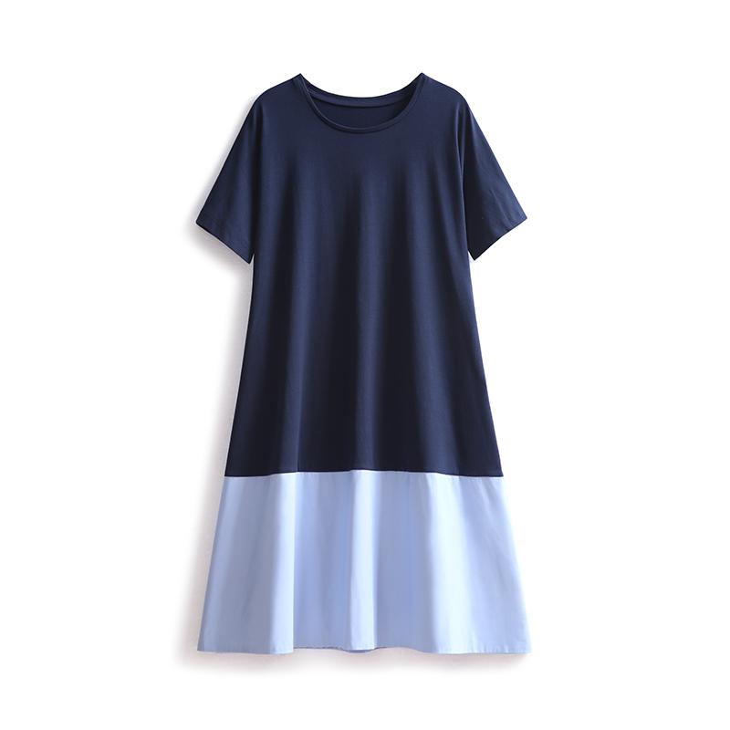 2018流行女装新款裙子撞色拼接A摆宽松冷淡风连衣裙极简 中长款