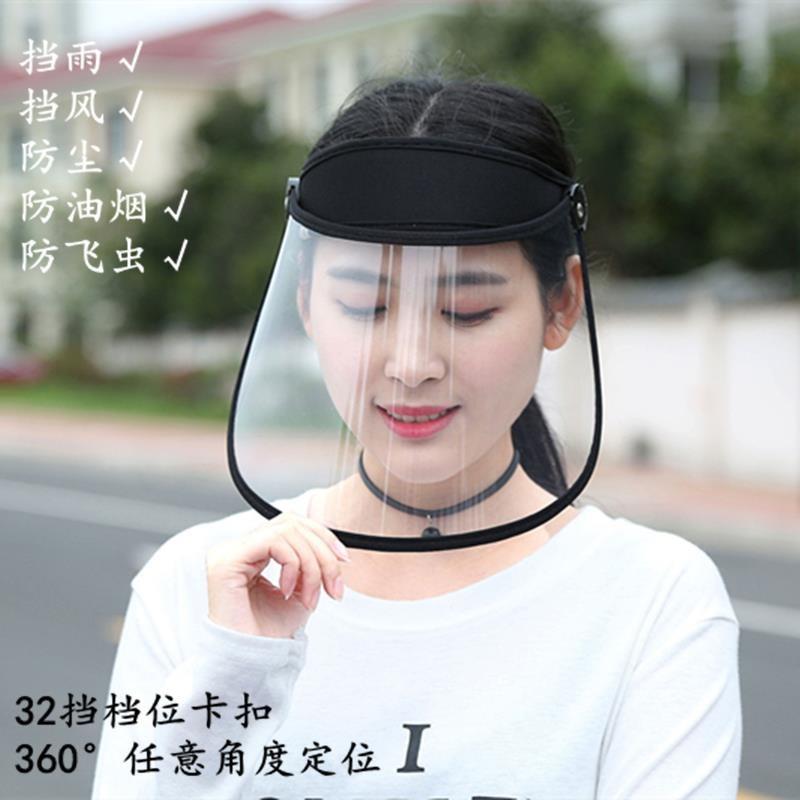骑车电瓶车雨衣雨帽遮厨房单车挡灰尘头套面罩透明全遮脸防护