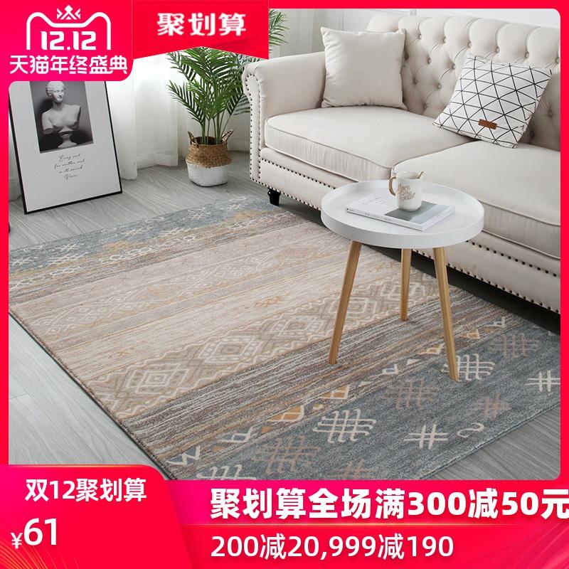 地毯北欧ins卧室长绒仿羊毛床边毯客厅茶几后现代美式轻奢红满铺