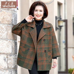 Mom 2019 new spring coat middle-aged autumn and winter clothes woolen coat middle-aged and elderly women thickened mink velvet
