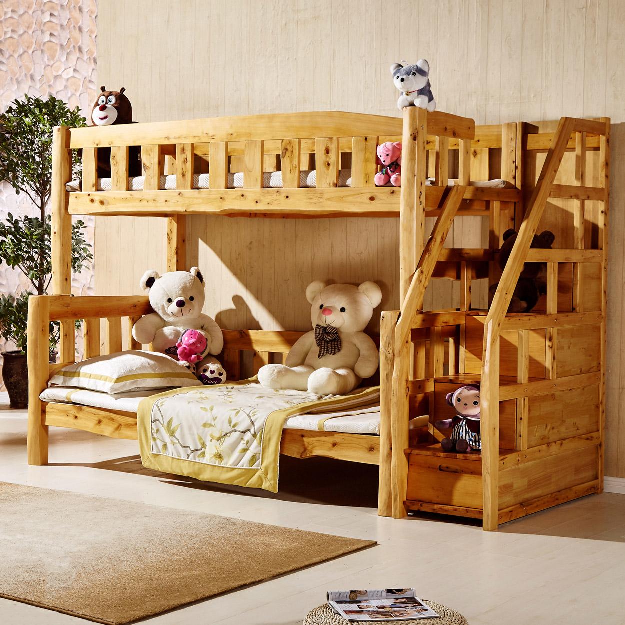 实木床香柏木家具儿童床原生态梯步子母床高低床双层床上下床梯柜