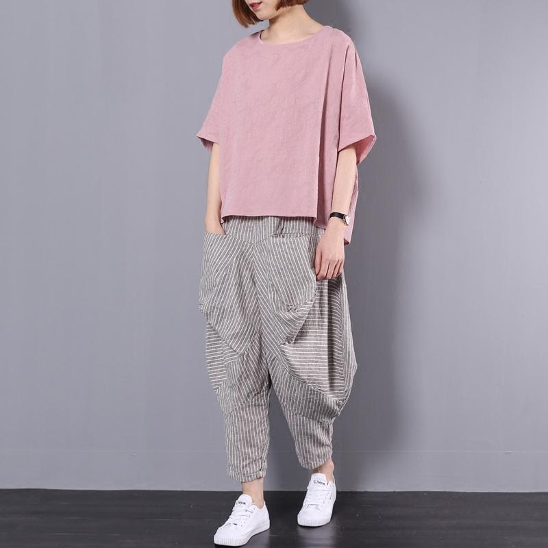 棉麻哈伦裤套装女2019夏季新款大码宽松文艺复古休闲亚麻两件套bf