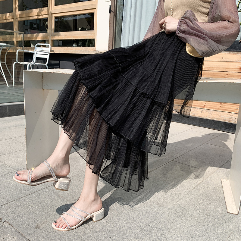 裙中长款高腰a字显瘦半身裙子
