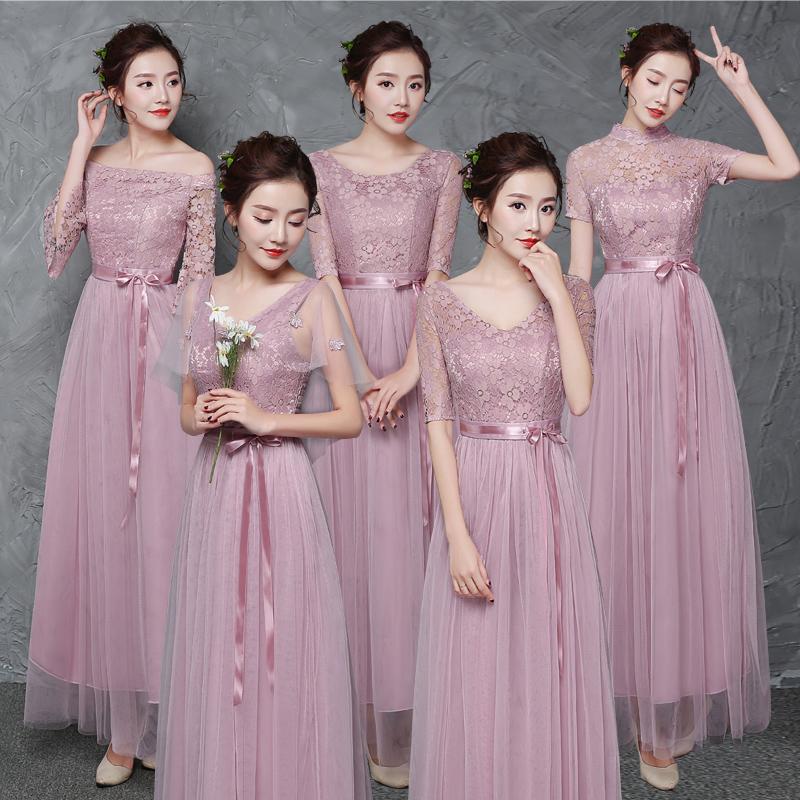 伴娘礼服2018新款秋冬韩版中长袖表演服灰色长款姐妹裙伴娘团礼服