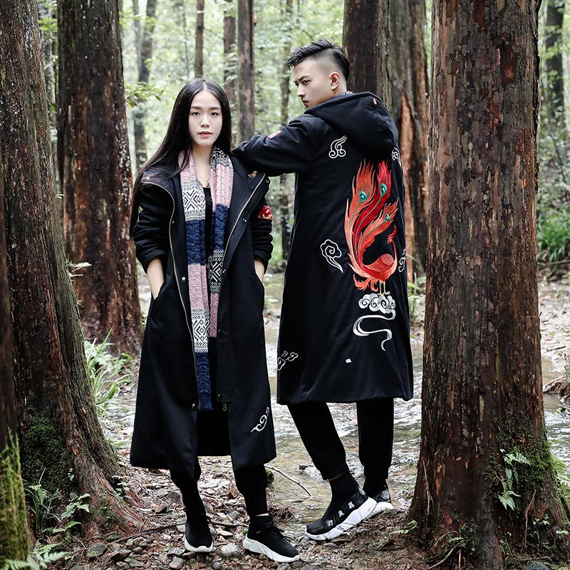 冬季男大码中国风中长款休闲复古刺绣厚棉衣青少年情侣国潮棉外套