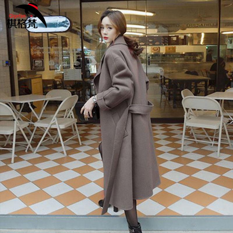 秋冬装毛呢外套女中长款韩版2017新款修身显瘦加厚超长呢子大衣潮
