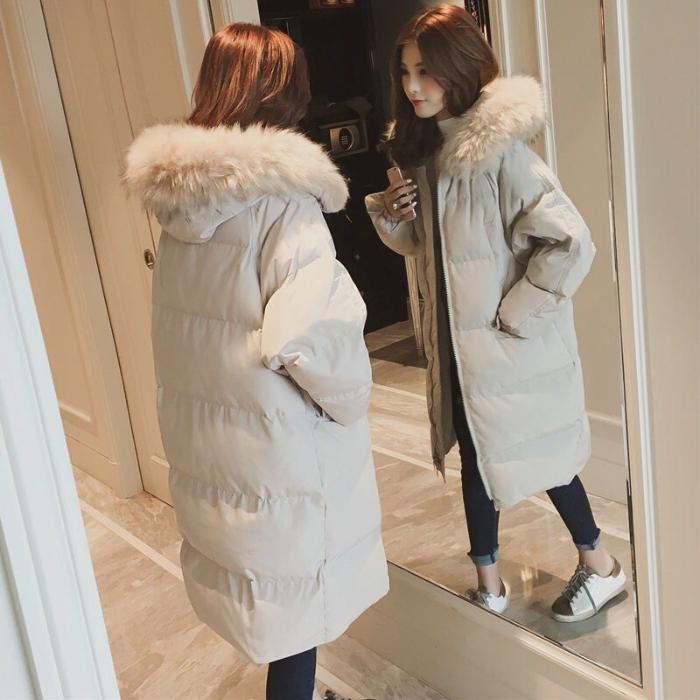 羽绒棉服加厚外套女冬面包服棉袄韩版chic中长过膝bf大码棉衣-小柠檬-