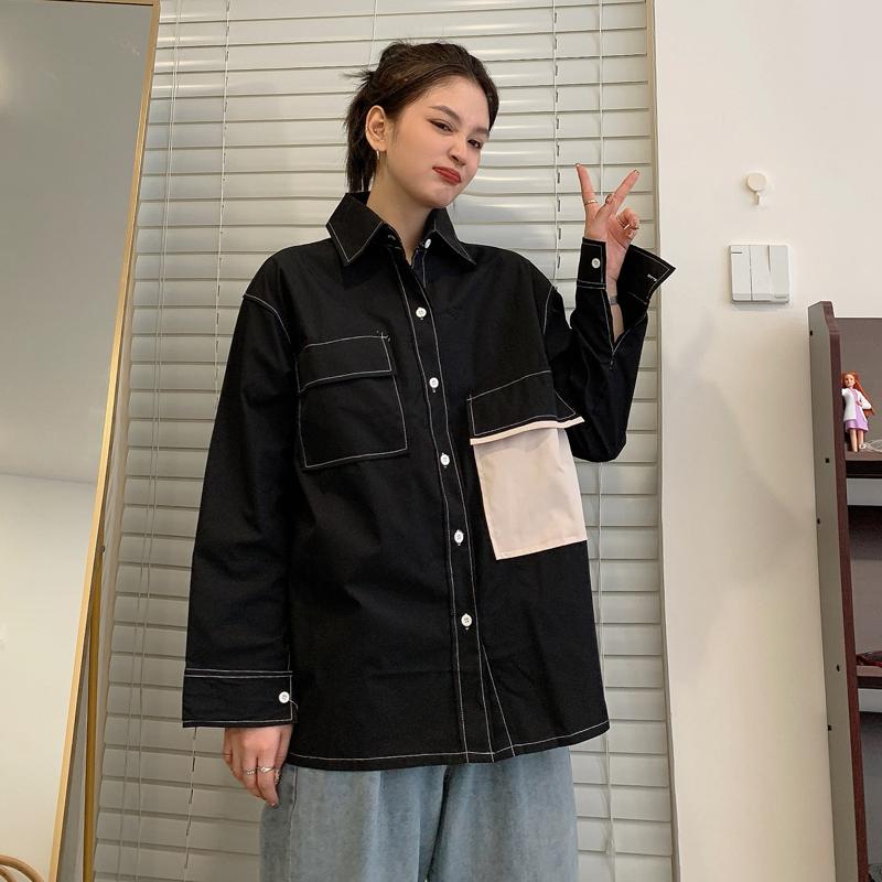 设计感衬衫女外穿百搭工装外套秋季2020新款盐系衬衣港风上衣潮 -