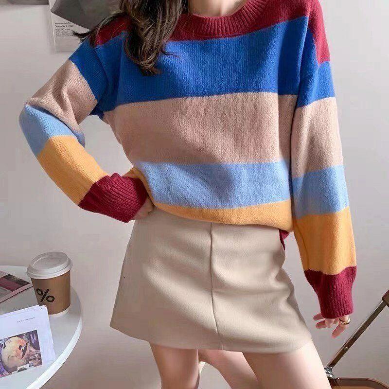 拼色毛衣女宽松慵懒风套头外穿2020年新款秋季学生百搭条纹针织衫 -