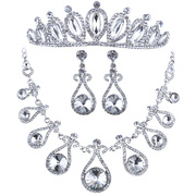Good pretty rhinestone Crown wedding jewelry necklace set three Bridal Accessories ear clip earrings jewelry set