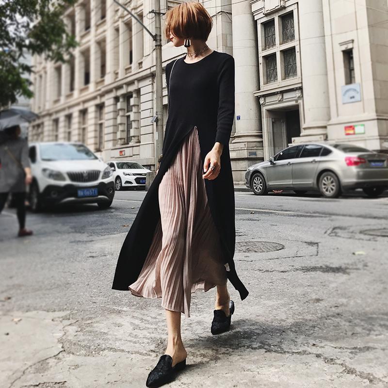 2017新款秋冬时尚宽松不规则开叉百褶雪纺撞色针织连衣裙针织长裙