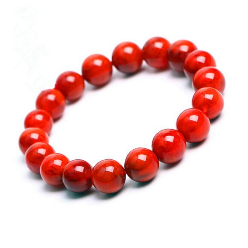 天然保山南红玛瑙圆珠手串手链佛珠108颗满肉散珠火焰红柿子红