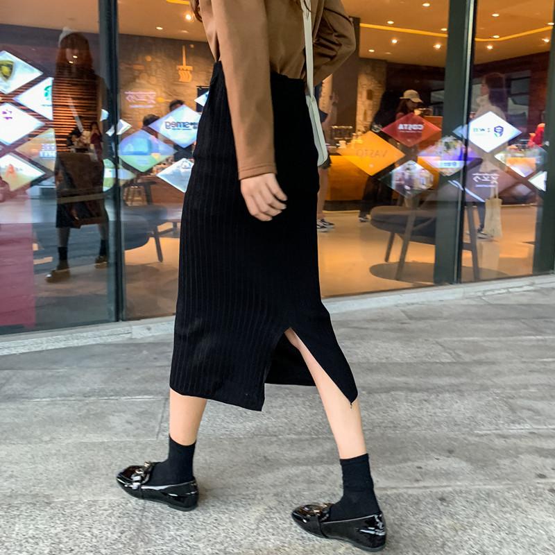 现货多实拍实价春季韩版高腰针织半身裙中长款开叉A字裙女-两个南瓜-