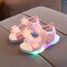 夏季新式1-5岁男童沙滩鞋bo10款宝宝hu凉鞋女童软底闪亮灯鞋