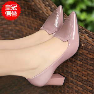 2020 spring new thick heel round toe single shoes high heels Korean professional size code work shoes mid heel women's shoes