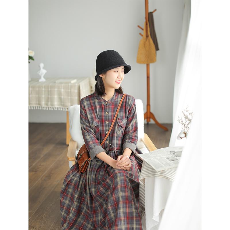 小耳出品双层棉连衣裙女早春新款套头宽松文艺长袖格子系带女裙