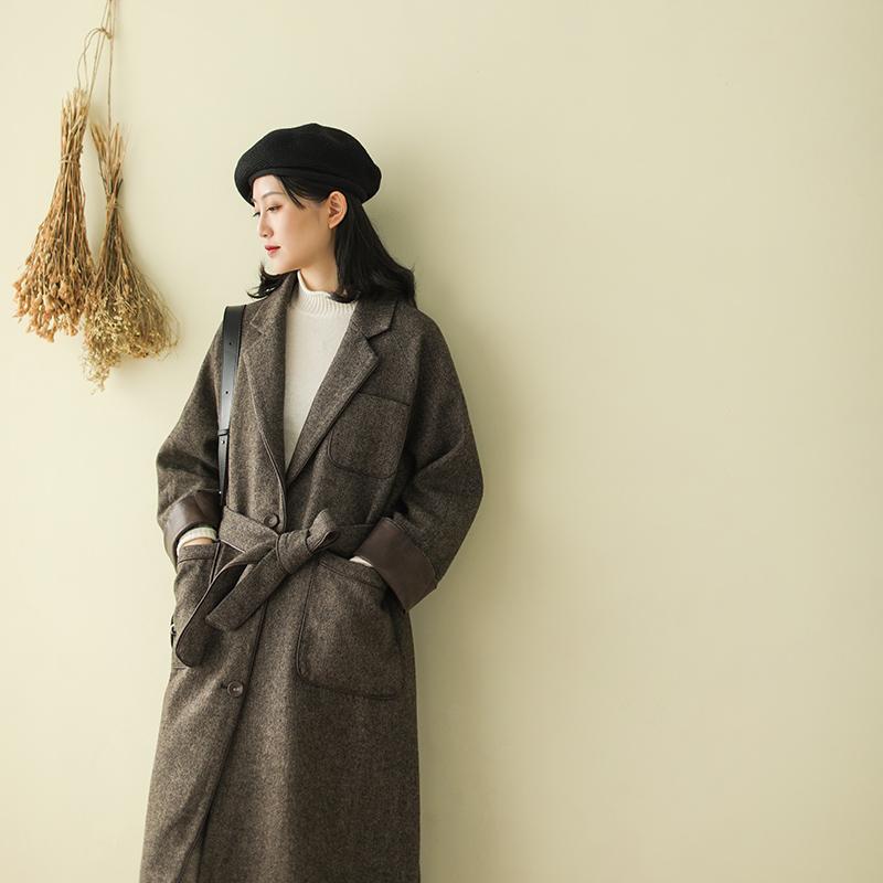 小耳出品羊毛人字尼毛呢外套女秋冬新款长袖上衣宽松文艺女装大衣