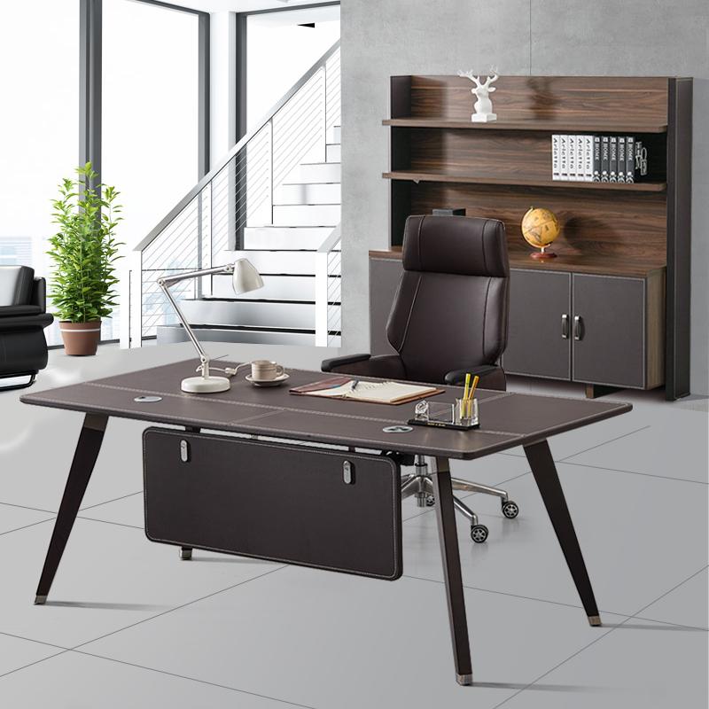 电脑台式桌家用简约现代经济型皮面办公桌单人简易书桌老板桌经理