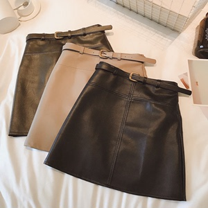 Haining leather leather skirt fashion high waist was thin a word bag hip short skirt 2019 autumn and winter new women's wild