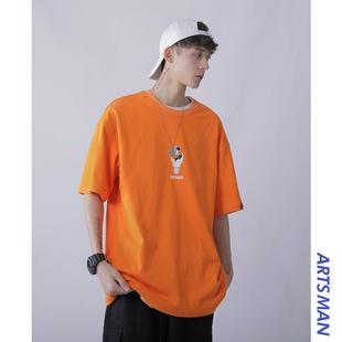 『买一送一』男士韩版潮流打底上衣夏季宽松休闲原宿风短袖t恤潮