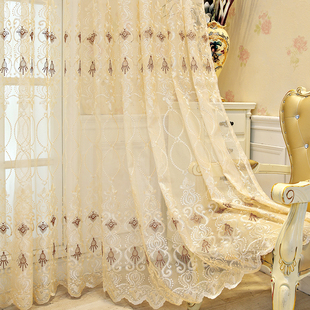 欧式窗纱帘客厅卧室刺绣飘窗