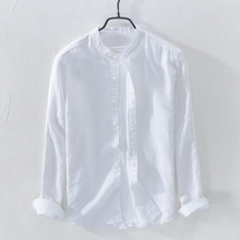 (小)清新立领棉麻衬衫男士ex8闲简约长dd式透气青年亚麻衬衣男