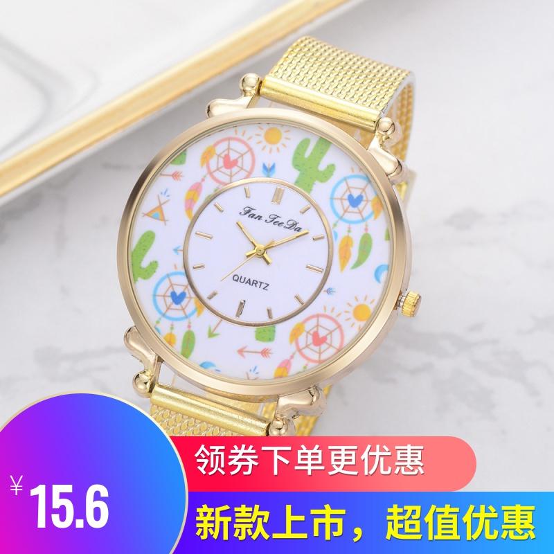 新款品牌手表 流行风铃镜面石英表潮流硅胶网带休闲女士腕表